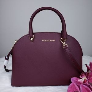 🌺NWT Michael Kors LG Emmy Dome Satchel bag merlot